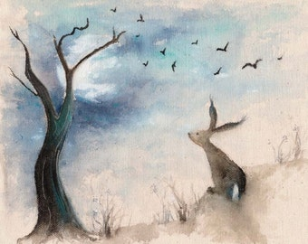 Stargazing - Enchanting Print of an original painting, a whimsical and charming hare watercolour print, A3 poster , hares