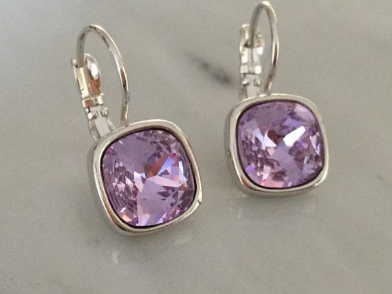 Violet Swarovski Crystal Earrings, Silver