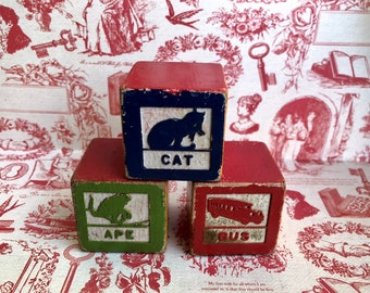 Vintage Baby Blocks, Babys Room, Baby Blocks, Baby Toys, Baby Shower Gifts,Antique Baby Blocks, Alphabets, Animals,Antique Baby Blocks, ABC
