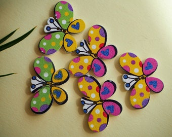 5 buttons, wood, BUTTERFLIES, 30x20mm, 2 different and varied colors, sewing, scrapbooking, deco, customization...