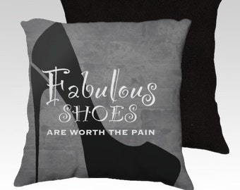 Throw pillowcase for shoe addicts, Stilletto shoe design, shoe accessories for home decor by Felicianation Ink