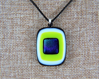 Handmade Modern Square-Oval Layered w/ Lime Green/White/Dichroic Fused Glass Necklace MADE IN USA