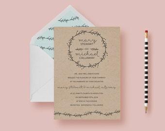 Rustic Kraft Botanical Boho Wedding Invitation—Typography Wedding Invite Template—Kraft Paper, Floral, Printable or Printed - FREE SHIPPING