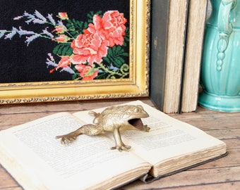 Brass Frog - Frog Figurine - Vintage Brass Frog - Vintage Frog Decor - Frog Decor - Frog Decorations - Book Shelf Decor - Book Shelf Styling
