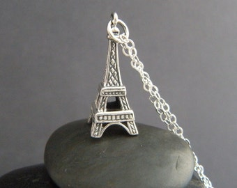 sterling silver Eiffel tower necklace. Paris France memory small everyday travel jewelry pendant. oxidized charm gift for grad traveler 1""