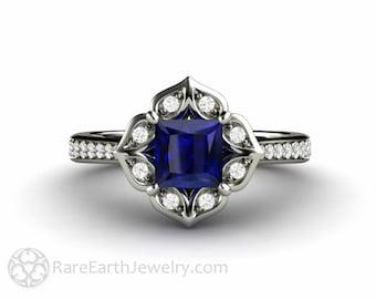 Princess Blue Sapphire Engagement Ring Square Vintage Halo with Diamonds September Birthstone