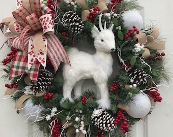 Winter Pine Deer wreath