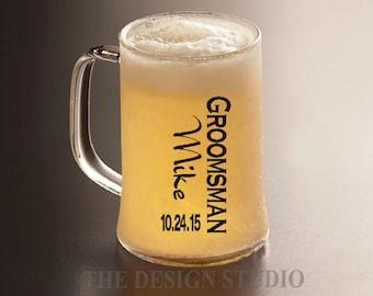 Groomsman Decal, Personalized, Beer Mug Decal, Beer Mug Decal, Groom Decal, Father of the Bride or Groom, Wedding Decal, DIY Vinyl Sticker