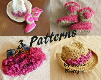 Crochet Baby Patterns - Baby Cowgirl Hat, Boots, Ruffled Skirt and Tiara PATTERNS - Pattern Package - Baby Girl Patterns -by JoJosBootique