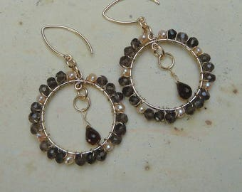 Wire Wrapped Whiskey Quartz Hoop Earrings