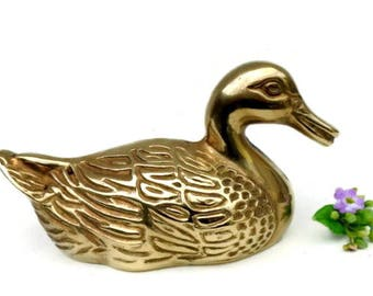 Duck Figurine Solid Brass Figurine Brass Duck Duck Decor table - Brass animal home decor