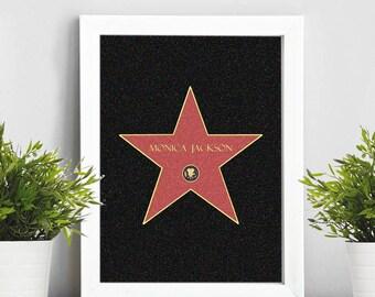 Hollywood Star nad your name, Printable, Digital Art,, Gift Idea.