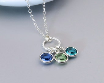 wid eternal family sterling product silver birthstone necklaces pendant