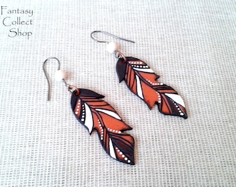 Feathers Handmade earrings handmade item Native americans Indian jewellery Hand made jewelry polymer clay