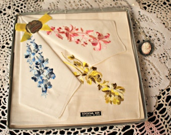 Vintage. Hankies. in box. Handmade cameo necklace.