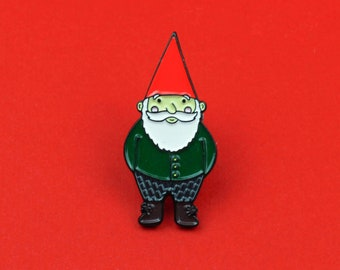 Garden Gnome, Lapel Pins, Fairy Garden, Gnome Pin, Forest, Enamel Pin, Woodland Gnome, Gnomish, Mushroom, Fantasy Pin, Gnome Gift, Nordic