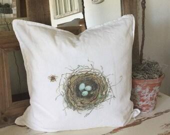 Bird Nest Pillow | Easter Pillow | Pillow Cover | Farmhouse Decor | Cottage Decor | Cottage Pillows