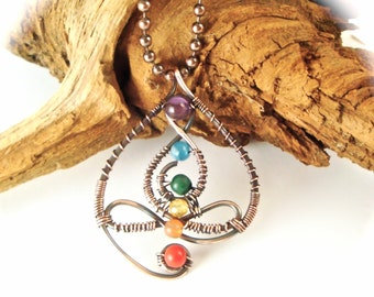 Wire Wrapped Chakra  Person Yoga Pendant  Antiqued Copper