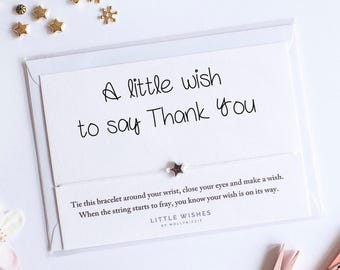 Wish bracelet, Thank You card, friendship bracelet, acceptance card, charm bracelet, thank you gift, star jewellery, silver star