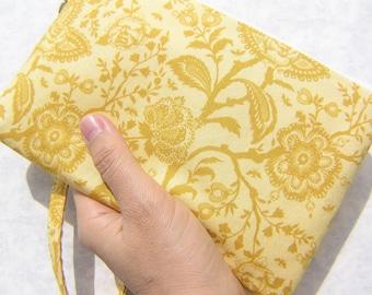 Wedding Clutch wristlet 2 pockets,medium,yellow,wristlet,discount plan set,cotton - French lace in gold