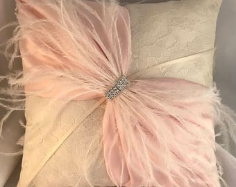Ivory Lace Ring Bearer Pillow with Ostrich Feathers