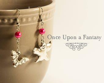 Ghost and bat, Pink Pearl Earrings