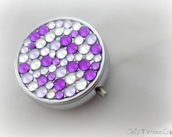 Purple rhinestone pill box, decoden box, gift for her