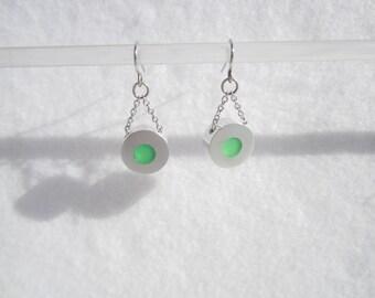 Frost Mint Earrings – Contemporary Jewelry – Disc Earrings