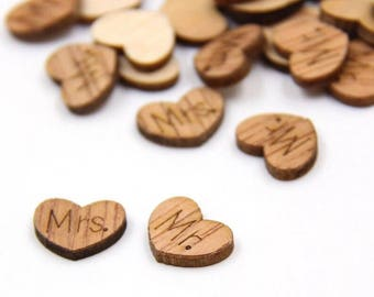 "100 PCS Mini Wood Heart Confetti ""Mr."", ""Mrs."", rustic, rustic decorations, rustic wedding, wedding supplies, engagement party, party"