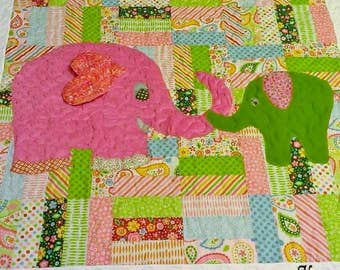 Custom Baby Quilt with Applique (cotton top, flannel back, name embroidery included)