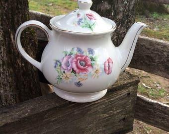 Vintage Teapot, Sadler England, Windsor, 4425, Vintage China, English Teapot, Floral Teapot