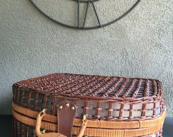 Vintage Wicker Picnic Basket Suitcase Large Family Size Woven Brown Carrier - #D2053
