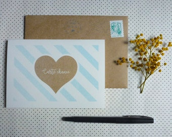 Postcard luck - match (10 x 15 cm) gold and turquoise graphic heart illustration, folded card printed in risographie card