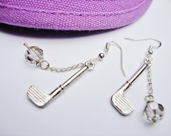 "Golf Club Earrings with Swarovski Crystals ""Par-fection""-sterling earrings by jessentials"