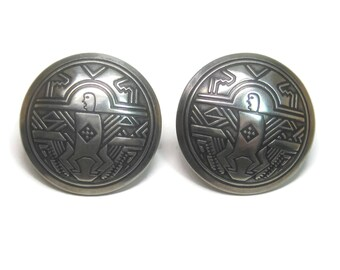 Large Vintage Sterling Tribal Earrings