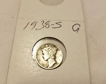 1938-S  US united states silver mercury dime Good condition