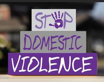 Domestic Violence Awareness, Stop Domestic Violence, Domestic Violence Blocks,  Wooden Blocks, Block Stack Set, Domestic Violence Desk Decor