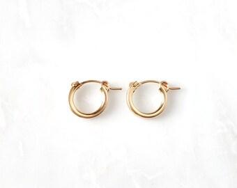 Small Hoop Earrings  14k Gold Filled, Sterling Silver,click hoops,easy snap hoop, huggie hoop,thick hoops,simple plain snug hoops, 13mm,15mm