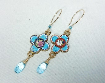 Antique Micro Mosaic Earrings, Blue Topaz, 14K Gold Filled, Grand Tour Souvenir Jewelry, Italy