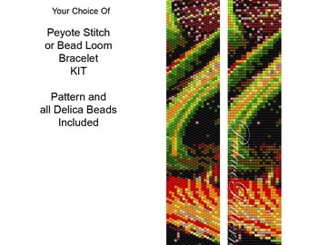 Bead Loom or Peyote Stitch Bracelet KIT - PP102 - Pattern and All Beads Included