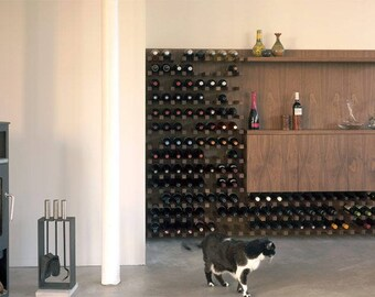 Minimalist Black Walnut Wine Rack and Bar Center | Finer Things Club Wine + Mixology Center
