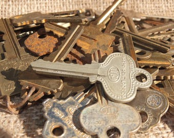 Some Nice Old Patina'd Keys - assemblage, craft, steampunk, multi-media supplies