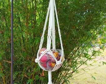 """Macrame Plant Hanger Eggshell/Off White/Winter White Outdoor Macrame Plant Holder Rope Plant Hanger Macrame Pot Holder """"Laputa"""""""