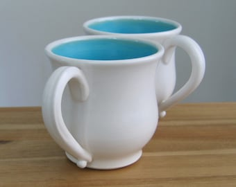 Coffee Gift, Large Coffee Mugs, Handmade Stoneware Pottery Pot Belly Cups in Turquoise Blue and White, Set of 2, Wedding Gift, Ceramic