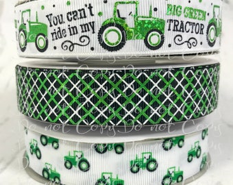 "7/8"", You Can't Ride in my BIG GREEN Tractor, US Designer Ribbon, Tractor Ribbon, Green Foil Ribbon, Farm Ribbon, Argyle Ribbon, Tractor Bow"