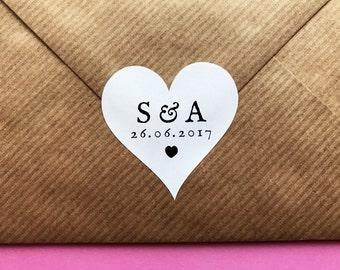 Save The Date Stickers, Heart Wedding Sticker, Initials Wedding Label, Wedding Date Sticker, Envelope Seals, Custom Wedding Invite Label