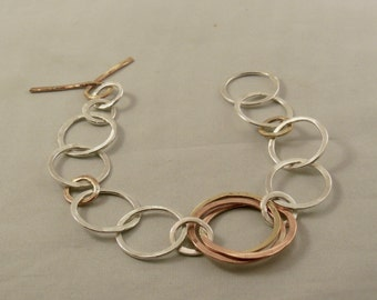 Silver, Copper and Brass chain link bracelet
