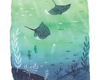 sea life art print, underwater painting, sea life giclee print, giclee fine art print, watercolour sea life, A4 giclee print