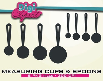 Measuring Cups Measuring Spoons Silhouette Clip Art - INSTANT DOWNLOAD