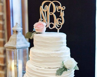 Wooden Monogram Cake Topper Unfinished Custom Wedding
